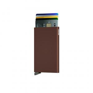 Porte cartes SECRID aluminium MARRON
