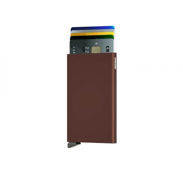 Porte cartes SECRID aluminium MARRON