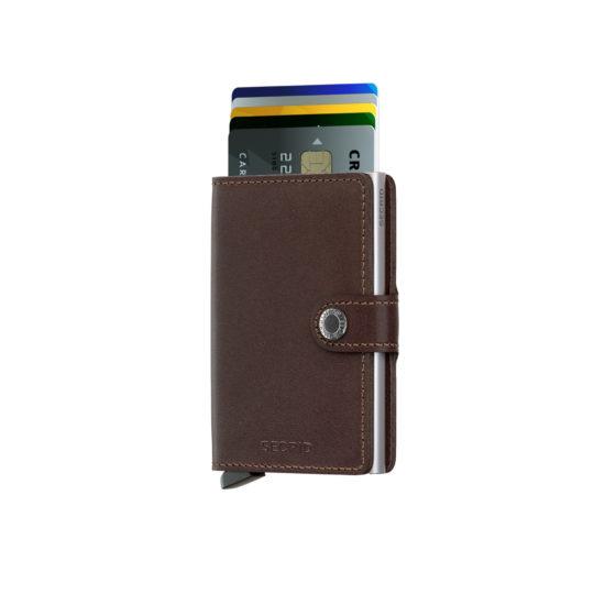 Portefeuille compact original marron foncé