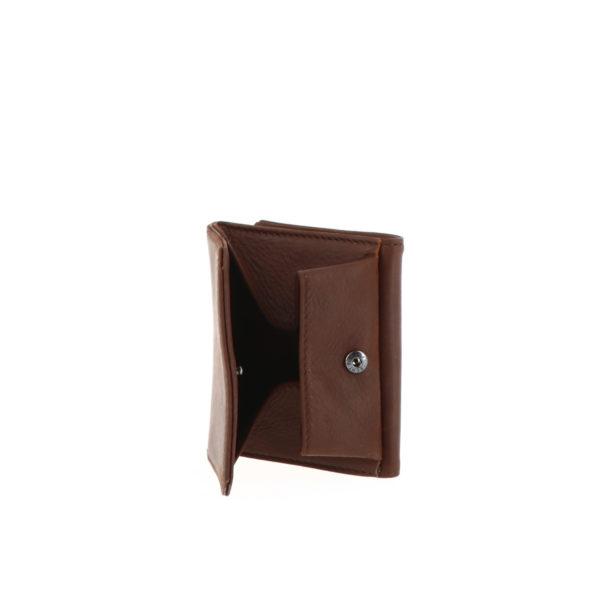 Porte monnaie boite 9148 cognac vue de dos ouvert