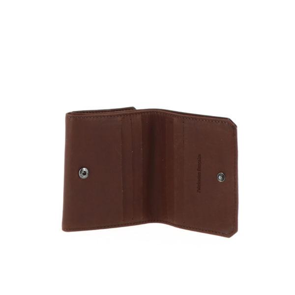 Porte monnaie boite 9148 cognac vue de face ouvert