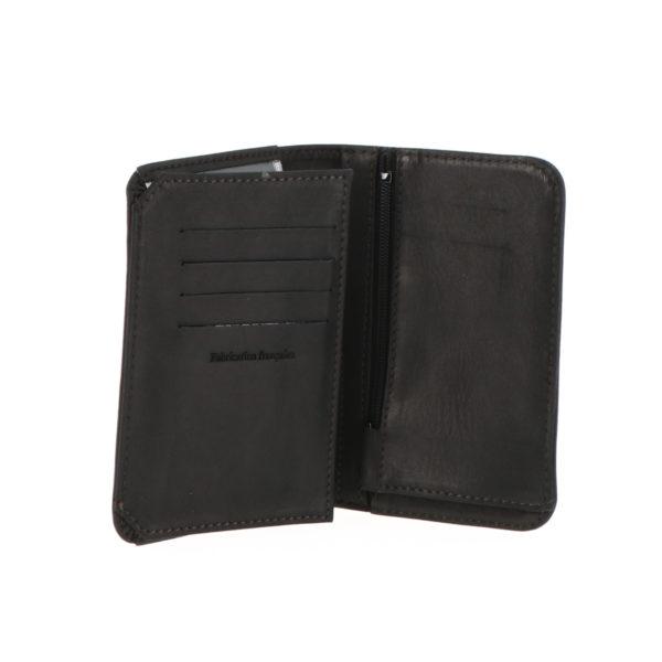 Portefeuille 9234 zip noir exterieur vue ouverte